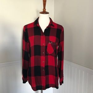 Zara Studded Pocket Plaid Shirt